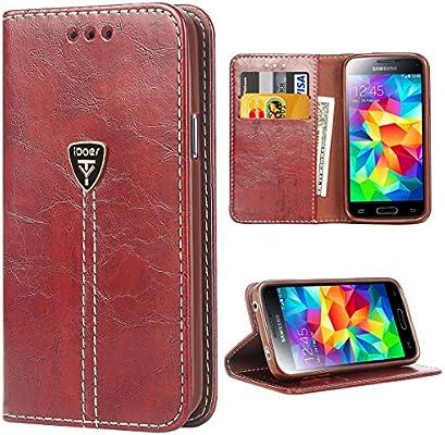 Carcasa para Galaxy S5, S5 Funda con Tapa Libro Piel y TPU Cartera Cover Funda de Cuero Carcasa Bumper Protectores Estuches Soporte Flip Case para Samsung Galaxy S5 / Neo marrón: Amazon.es: