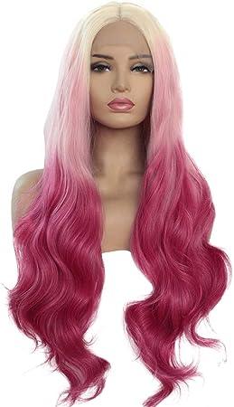 TUDUZ Peluca De Pelo Sintética Delantera Del Cordón Rizado Natural Mujeres Mezclan Colores Pelucas Largas Rosadas (Rosado, L)