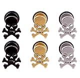 3 Pairs Stainless Steel Skull Stud Earrings for Men