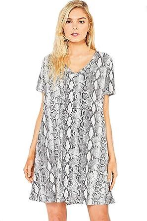 4bb45fa569fd Entro Snake Charmer! Knit V-Neck A-Line Snake Print Dress at Amazon Women's  Clothing store:
