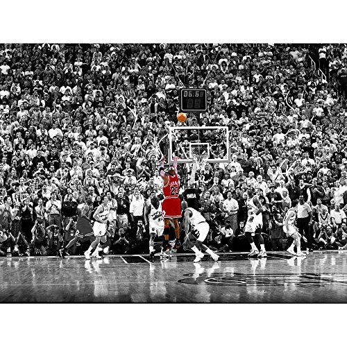 BPAGO Michael Jordan Basketball Sports Poster Print Poster Old Photo Large Wall Art Canvas Paintings Office Decoration Stretched Ready to Hang 32 x 24 inch (Jordan Retro Collection)
