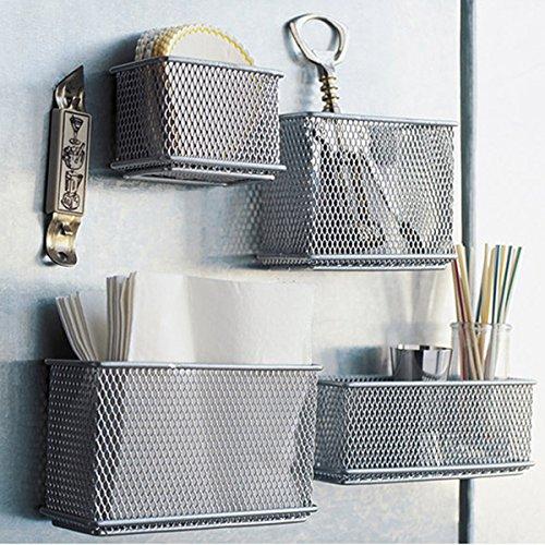 Caveen Wire Mesh Magnetic Storage Basket Tray Metal Desk Caddy Storage Organizer For Refrigerator Whiteboard Silver S (Wire Mesh Basket Storage)