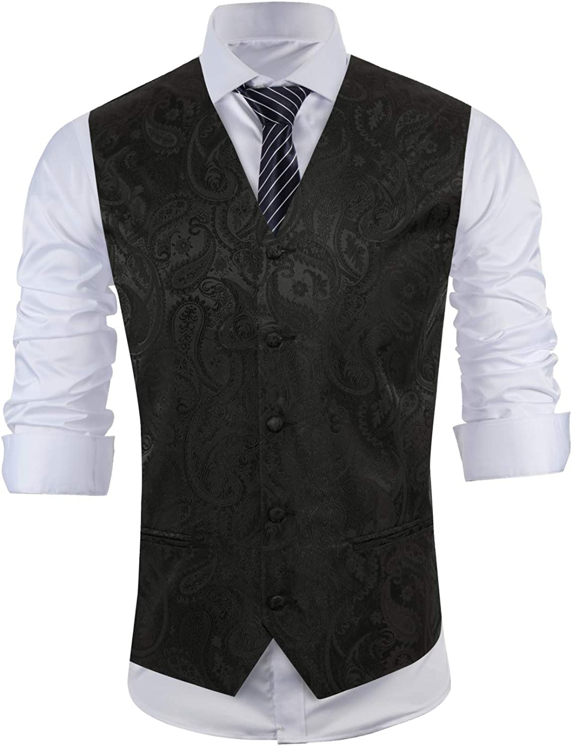 MAGE MALE Men's Classic Paisley Floral Jacquard Suit Vest Single Breasted V Neck Waistcoat