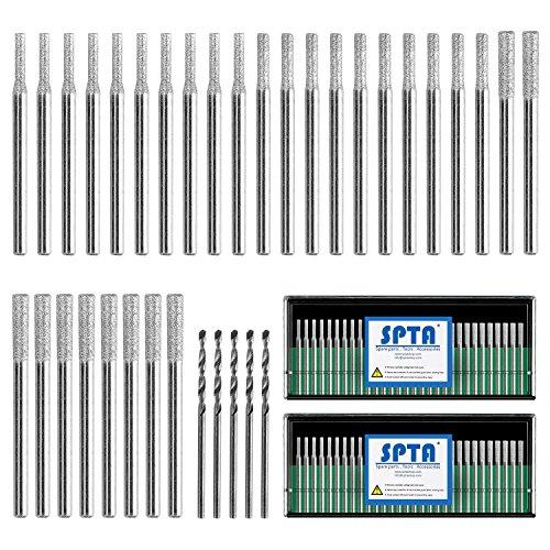 SPTA 20Pcs 1mm,20Pcs 2mm,20Pcs 3mm Diamond Drill Bit Diamond Grinding Head Mounted Burr Point Set And 5Pcs 3mm Twist Drill Bit For 1/8