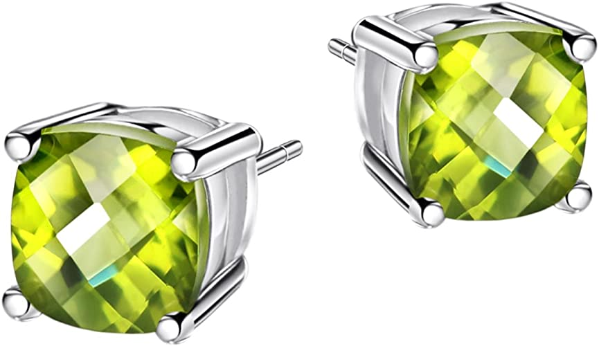 Gift  Boxed STUDS PERIDOT   Sterling  Silver  925  Gemstone  Earrings