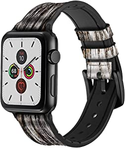 CA0466 Old Wood Bark Graphic Leather & Silicone Smart Watch Band Strap for Apple Watch iWatch Size 38mm/40mm