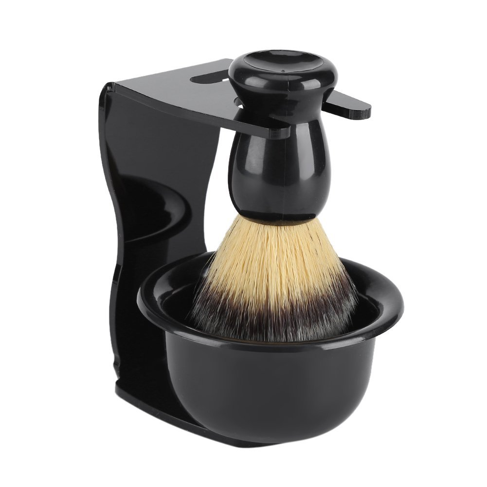3 in 1 Professional Men Shaving Set Nylon Shaving Brush Shaving Acrylic Holder Stand ABS Resin Shaving Bowl for Men Beard Cleansing Zerodis