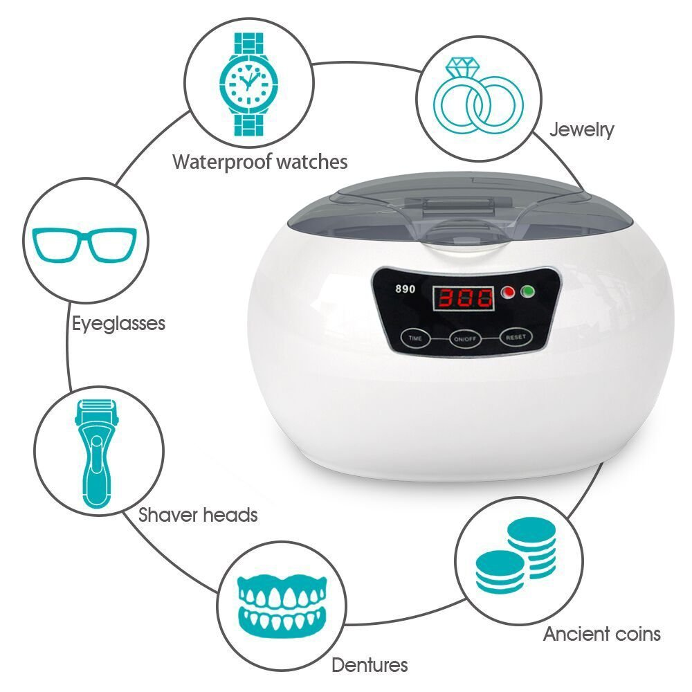 SKYMEN Professional Mini Ultrasonic Jewelry Cleaner Bath 600ml 35W 40kHz for Home Use Cleaning Eyeglasses Watches Rings Necklaces Coins