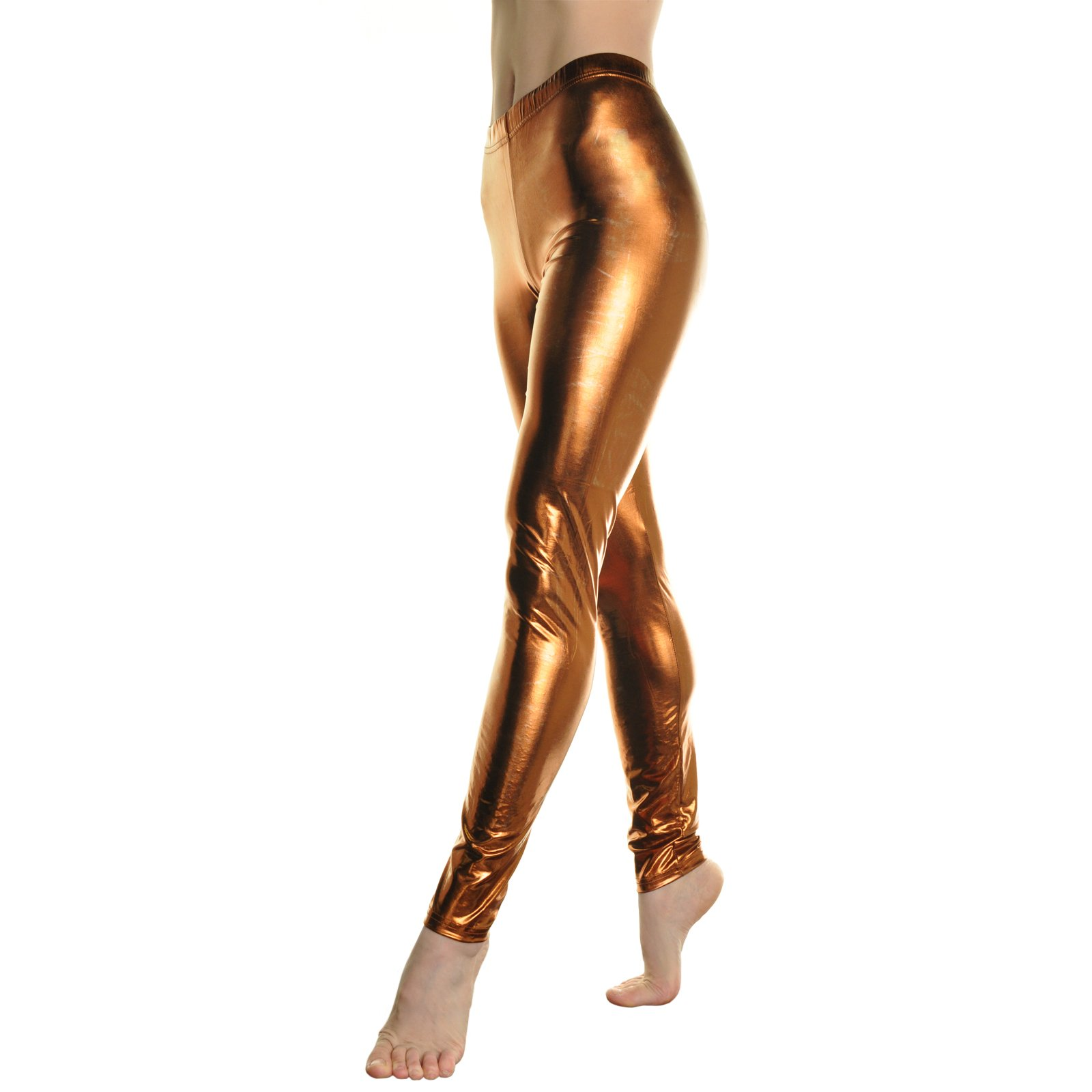 Angelina Gun Metal Liquid Legging, Shiny Wet Metallic Bronze, Medium Size