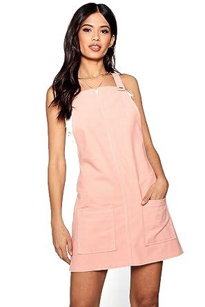 efe92fd240c12e Femmes Rose pâle robe chasuble en velours côtelé à poche devant ...
