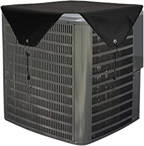 Yesland Winter Proof Air Conditioner Cover, AC Defender with Bungee Cords for Outside Units, Black Heavy Duty Winter Top & A/C Unit Protector for Central Units (28 × 28)