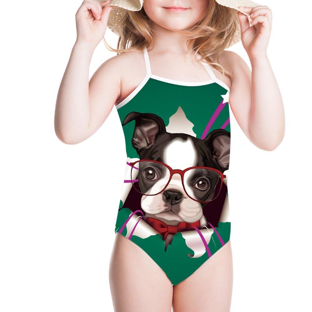 3D Animal Print One Piece Swimsuit Beachwear for Kids Girls 3-8Y (Bulldog Glasses, 3-4T)
