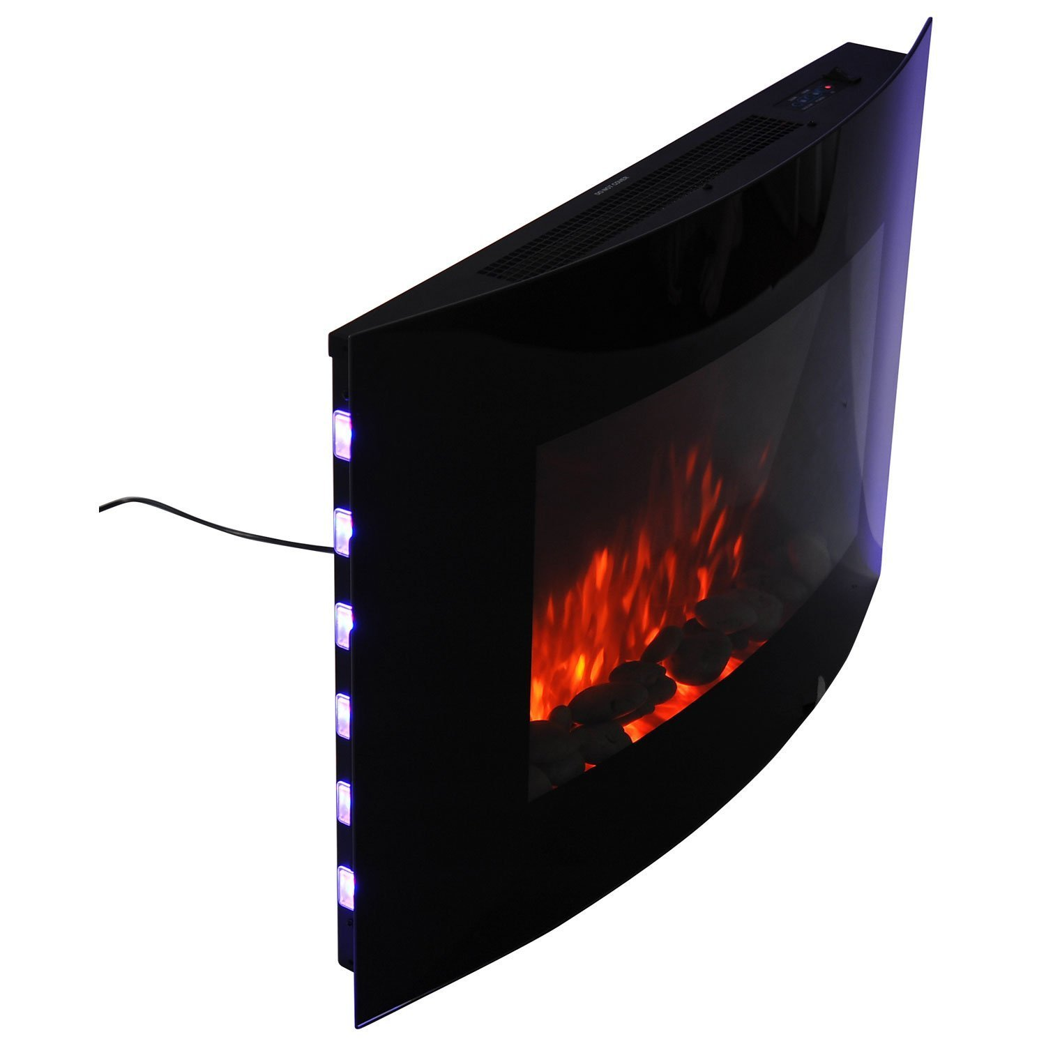 homcom led curved glass electric wall mounted fire place fireplace