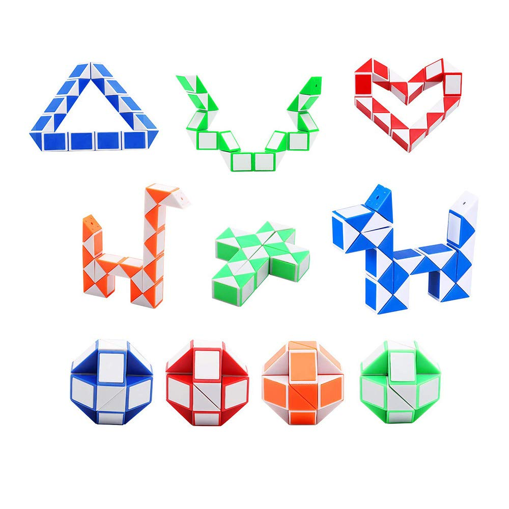 SouthStar Twist Puzzle Toys, 15 Packs Magic Snake Cube,24 Blocks Mini Snake Speed Cubes,Snake Rubiks for Kids Party Bag Fillers and Party Favours(Random Color)