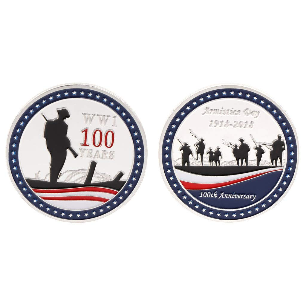 Hardli Commemorative Coin The First World War Armistice Day,1918-2018 100 Years Anniversary Souvenir Craft Art Collection Gifts (Silver)