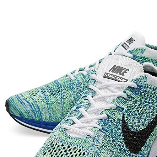 Nike Flyknit Racer Hardloopschoenen White / Black-game Royal-green Strk