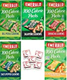 Emerald Nuts 100 Calorie Variety Pack of Emerald CASHEWS, 35 Bags of Nuts. Flavors Include: Dill Pickle, Sriracha, Jalapeno, Salt N Pepper, Cashew Halves & Pieces. Bundle of 5 Boxes, 7 in each