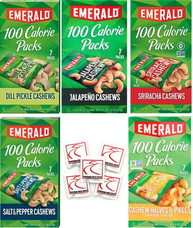 Emerald Nuts 100 Calorie Variety Pack of Emerald CASHEWS, 35 Bags of Nuts. Flavors Include: Dill Pickle, Sriracha, Jalapeno, Salt N Pepper, Cashew Halves & Pieces. Bundle of 5 Boxes, 7 in each by Narrow Path Sales