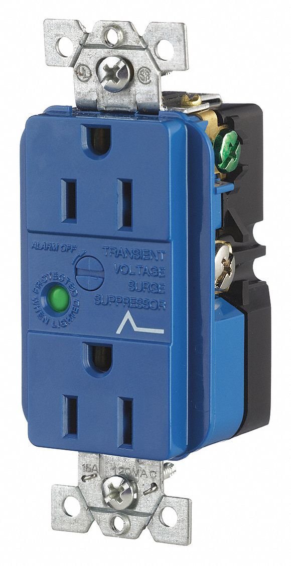 15A Commercial Environments Receptacle, Blue; Tamper Resistant: No
