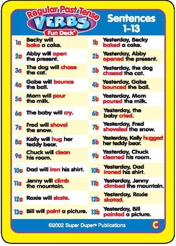 Regular Past Tense Verbs And Irregular Verbs Fun Deck
