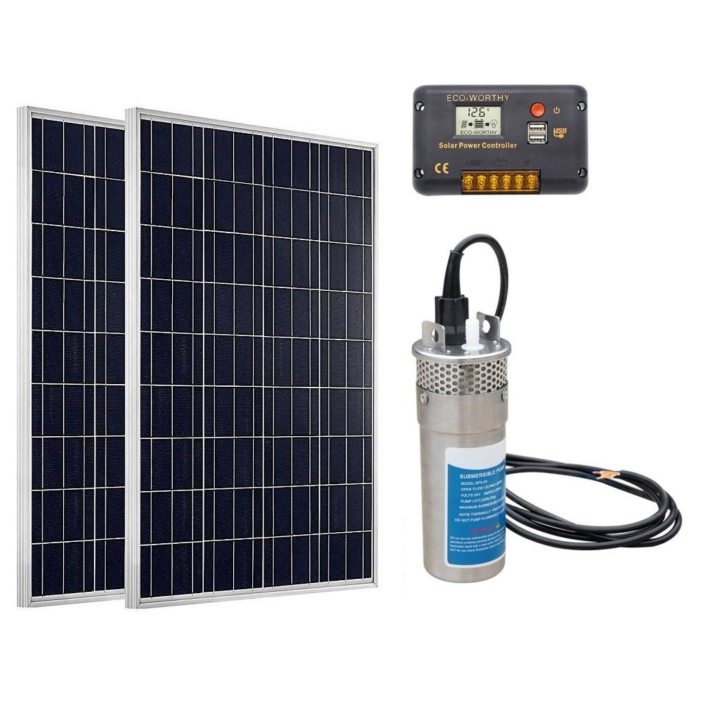 ECO-WORTHY Deep Well Water Pump System: 1pc 24V DC Stainless Submersible Pump + 2pc 100W Poly Solar Panel + 1pc Charge Controller