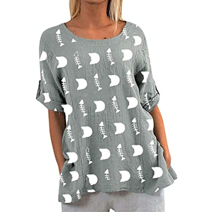 Blusa De Las Mujeres,Jessboy Camisa Casual Con Estampado De ...