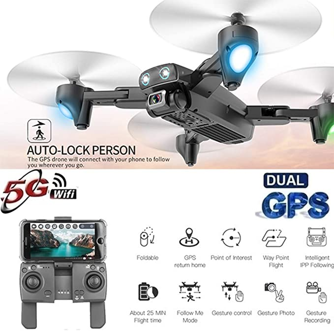 TwoCC Drone,S167 2.4G Wifi Fpv 720P Hd Cámara Gps 120 ° Gran ...