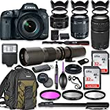 Canon EOS 7D Mark II DSLR Camera with 18-55mm Lens Bundle + Canon EF 75-300mm III Lens, Canon 50mm f/1.8 and 500mm Preset Lens + Canon Backpack + 64GB Memory + Monopod + Professional Bundle
