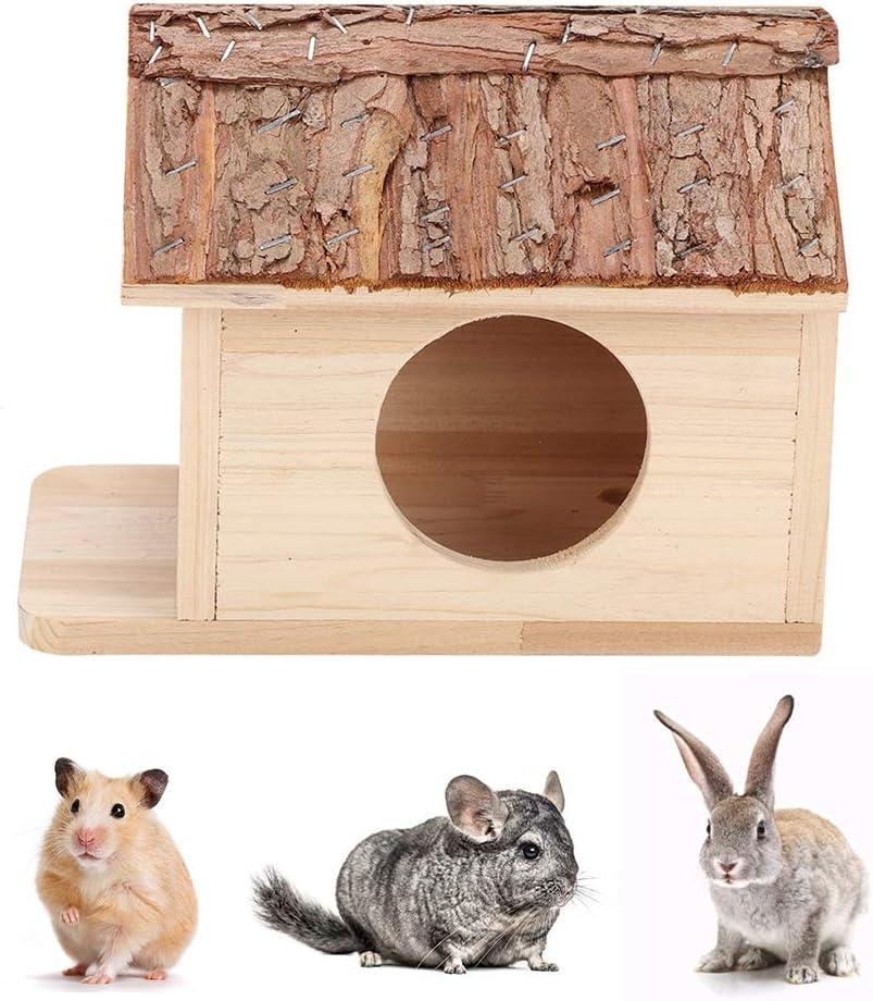 Casa del hámster Cabaña del hámster de Madera Caja Fuerte Animales pequeños Escondite Nido de Chinchilla Casa del jerbo Pequeña casa de Mascotas para Ardillas Conejo Conejillo de Indias Hámster