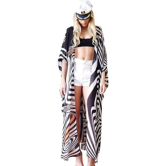 6f36b0258a Zoye Chen Women s Summer Blouse Loose Kimono Floral Print Cardigan Chiffon  Beachwear Dress (CF-