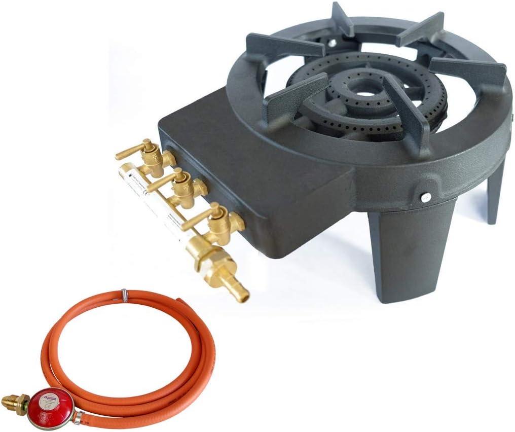 Estufa de gas de hierro fundido con triple anillo, 9,8 kW, con manguera de gas y regulador de propano
