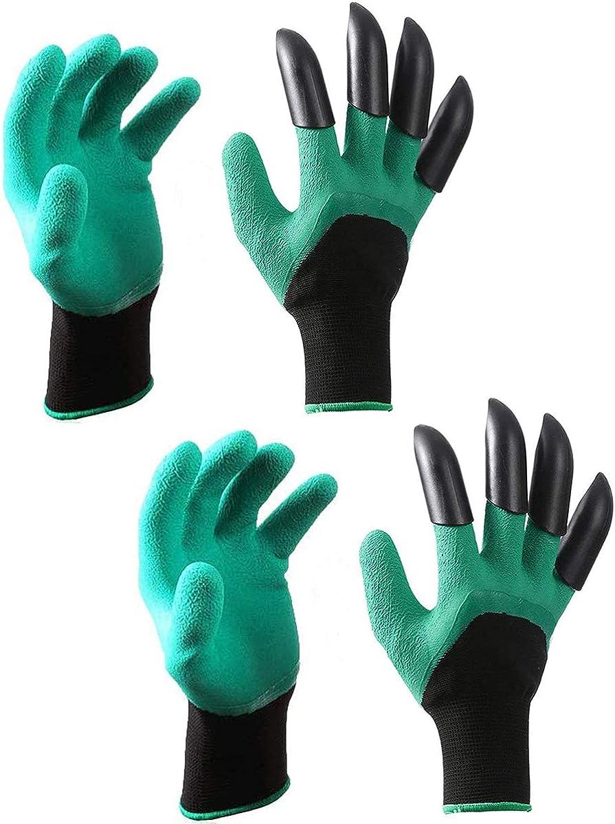 Garden Genie Gloves -2 Pairs, Waterproof Garden Gloves with Claws for Digging,Planting, Weeding, Gardening ,Best Gardening Gifts for Gardeners (Right hand claw)