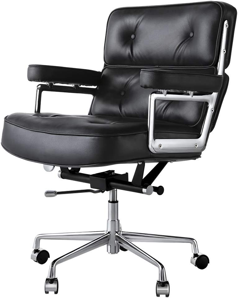 Genuine Leather Executive Office Chair, Ergonomic Mid Back Computer Desk Chair Adjustable Swivel Task Chair with Armrest for Home Office Furniture (Black)