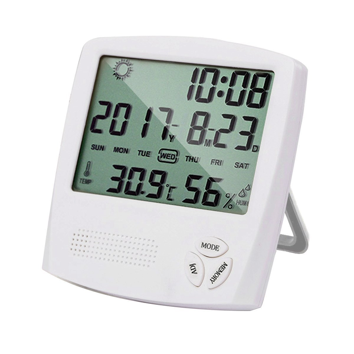 Humidity Meter Indoor Digital Thermometer Monitor Hygrometer Gauge Temperature/Time/Humidity/Weather/Alarm Clock (White) HUABEI