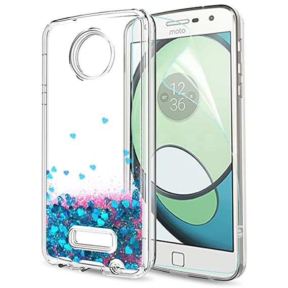 buy popular 34616 a8320 Moto Z Play Case,Moto Z Force Case with HD Screen Protector for Girls  Women,LeYi Shiny Glitter Moving Quicksand Liquid Clear TPU Protective Case  for ...