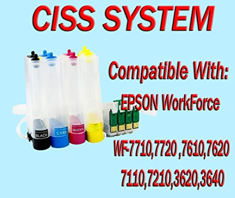 Amazon.com: Bulk CISS para Epson Workforce WF-7710 WF-7720 ...