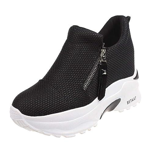 Tefamore Zapatillas de Cuña para Mujer Zapatillas de Deporte Zapatillas Altas Primavera/Verano Tacón Cuña 6CM: Amazon.es: Zapatos y complementos