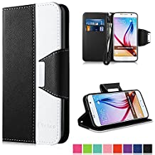 Galaxy S6 Case,Vakoo Samsung S6 Flip Cover Premium PU Leather Wallet Credit Card Holder Folio Stand Case for Samsung Galaxy S6 With a Wrist Strap – Black White