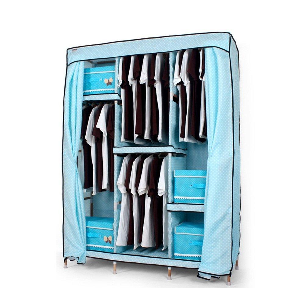 Armoire en tissu - combinaison d'assemblage en tissu simple - armoire en bois massif - bois économie simple moderne