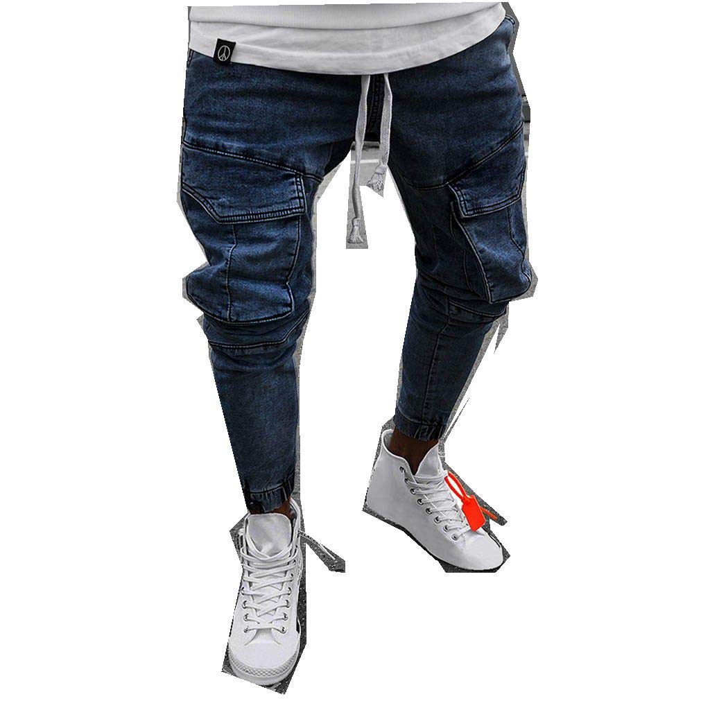 Men Casual Fashion Elastic Waist Skinny Fit Straight Jeans Casual with Pocket (US:76, Dark Blue)