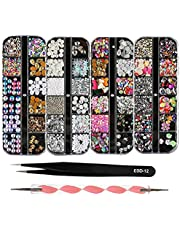 GRAEAR 4 Boxes 12 Grids Nail Art Rhinestones + 1 PC Wax Dotting Pen + 1 PC Straight Tweezer Tool Kits 3D Beads Diamonds Resin Stone Crystal Flat Bottom Gold Metal Studs