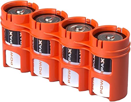 Amazon Com Storacell Sld4org By Powerpax Slimline D Battery Caddy Orange Holds 4 Batteries Home Improvement