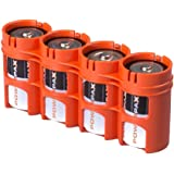 Storacell by Powerpax SlimLine D Battery Caddy, Orange, Holds 4 Batteries