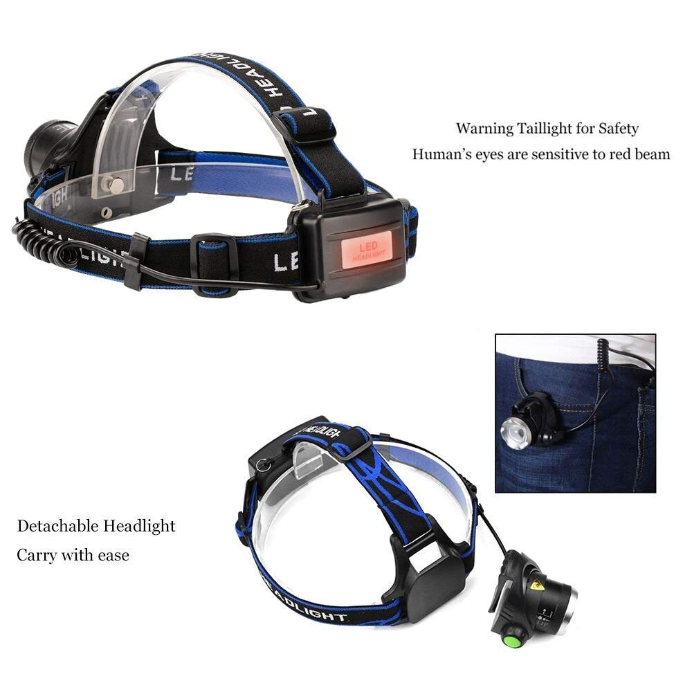 Ultra-bright XML T6 3000 Lumen 3 Mode Tactical Headlight with AAA Batteries Waterproof Taclight Headlamp Hands-Free Taclamp (2 Pack) by Ploarnovo (Image #5)