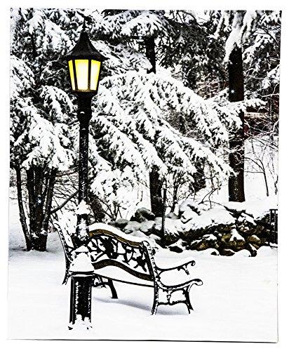 Scene Decor Street (OSW 13.75 x 17 Snowy Winter Bench Scene Home Decor LED Art Canvas Light up Picture w/Timer)