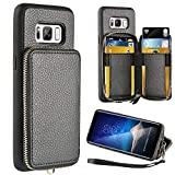 ZVE Wallet Case for Samsung Galaxy S8, 5.8 inch, Leather Wallet Case Credit Card Holder Slot Zipper Wallet Pocket Purse Handbag Wrist Strap Protective Cover Samsung Galaxy S8, 5.8 inch 2017 - Black