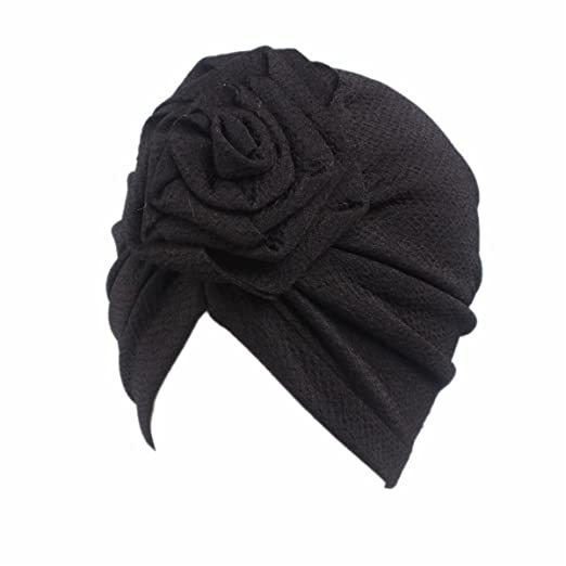 28c90a4296b Image Unavailable. Image not available for. Color  Qhome Kids Turban  Headbands Rose Flower Girls Cotton Beanie Hat ...