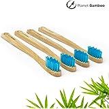 ♻ Planet Bamboo ♻ Bambus Zahnbürste im 4er-Sparset für Kinder (Blau   Medium-Soft), schmaler Griff für Kinderhände, Natur-Zahnbürste in geschmackvoller Panda Verpackung