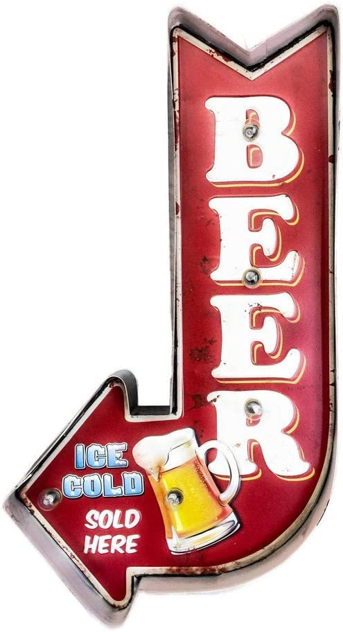 Beer bar Cartel Luminoso Vintage Letrero Met/álico Artesania Accesorios Decoraci/ón Hogar