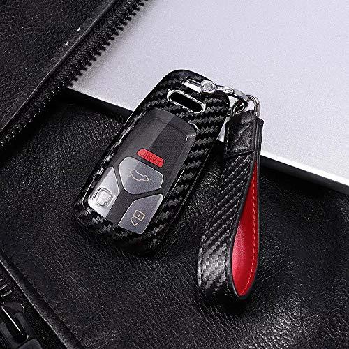 Royalfox(TM) 3 Buttons Carbon Fiber Texture Smart keyless Remote Key Fob case Cover for Audi A3 A4 A5 A6 Q3 Q5 Q7 C5 C6 B6 B7 B8 TT 80 S6 A6 C6 Accessories (for Audi q7)